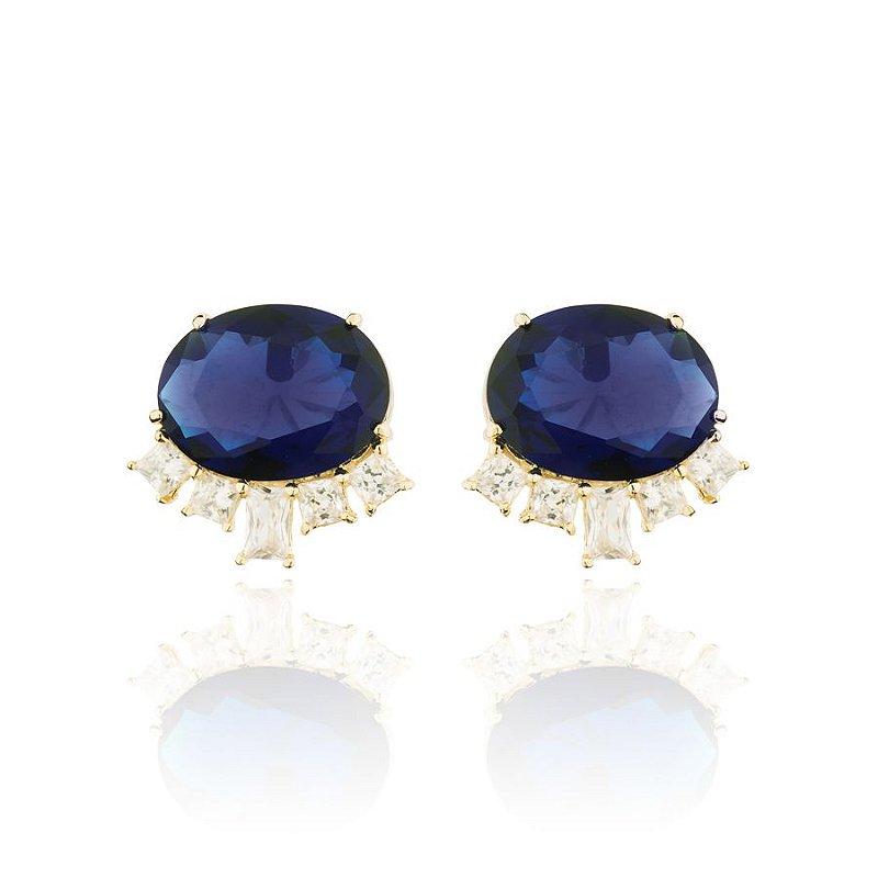 Brinco Oval Cravejado Cristal Azul e Zirconias Banhado Ouro