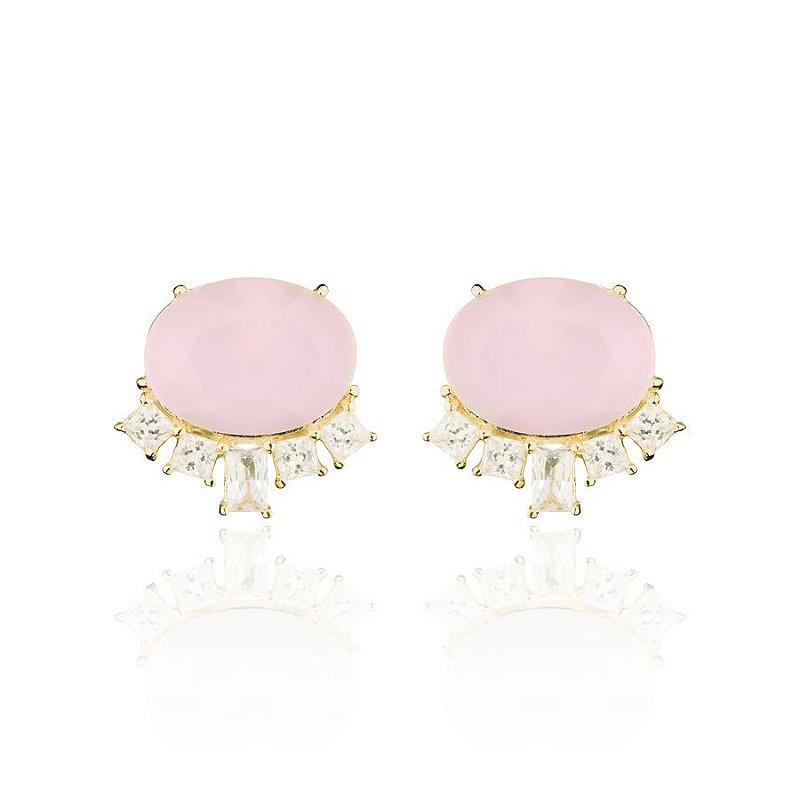 Brinco Oval Cravejado Cristal Rosa e Zirconias Banhado Ouro