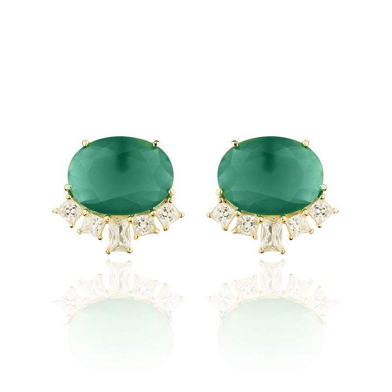 Brinco Oval Cravejado Cristal Verde Esmeralda Banhado a Ouro