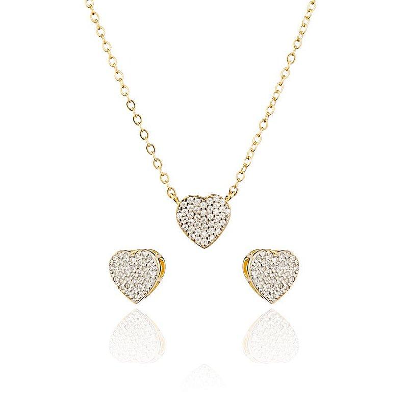 Conjunto Coração Cravejados Zirconia Branca Banhado a Ouro