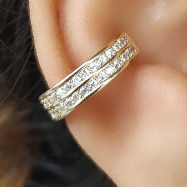 Piercing Falso Fake Cartilagem Cravejado Banhado Ouro Unid