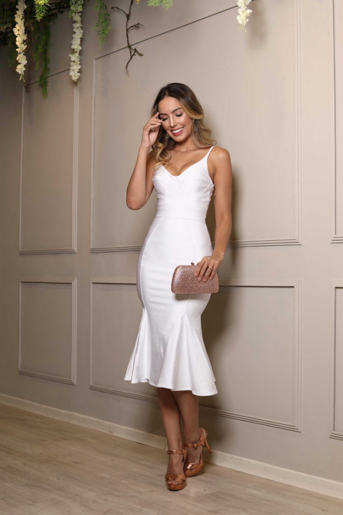 074640100 Vestido midi branco alças elastano - closetdamay loja de vestidos