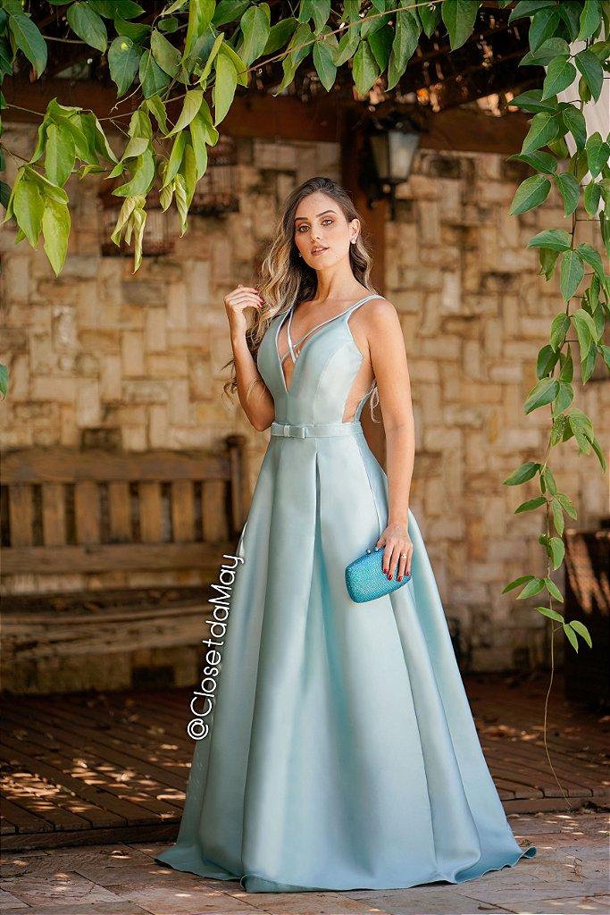 0a2a7fd4a Vestido de festa longo tafetá com cinto chanel - closetdamay loja de ...