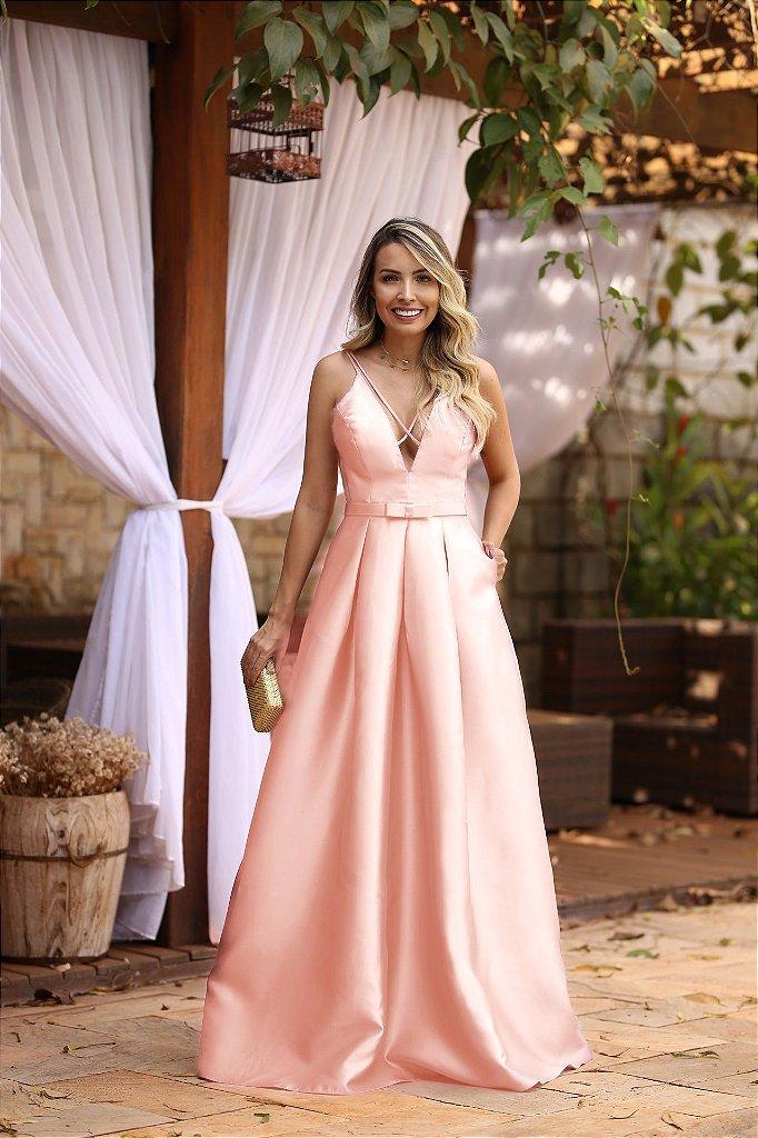 47972167b ... Vestido de festa longo zibeline com cinto chanel cores - Imagem 4 ...