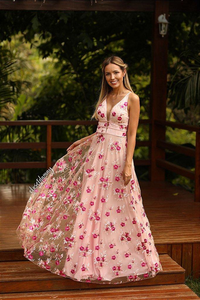 e1c839d36 Vestido tule bordado longo - closetdamay loja de vestidos