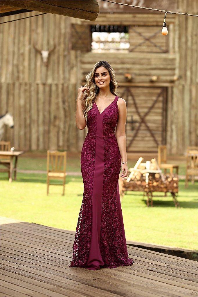 3f7359c1eb Vestido de festa longo com renda crepe guipir - closetdamay loja de ...
