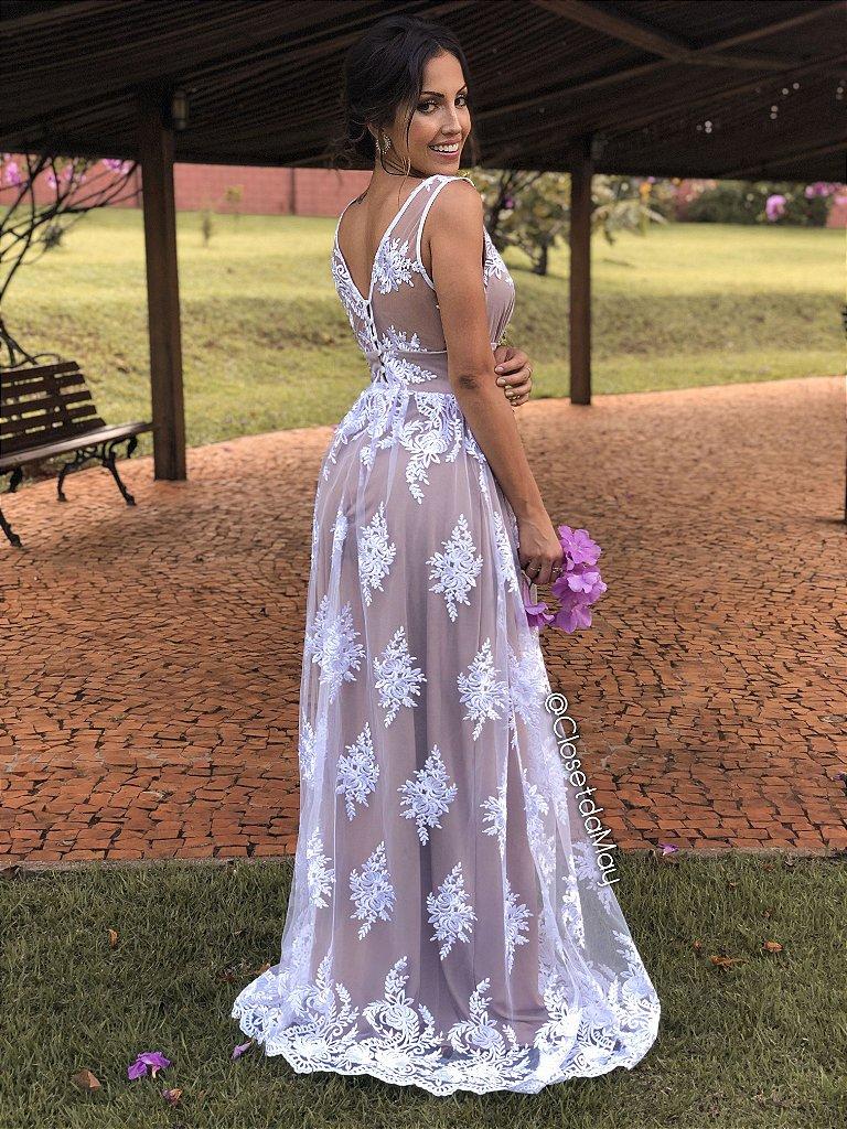 84db3825c Vestido de noiva longo de tule com bordado e renda - Imagem 1 ...