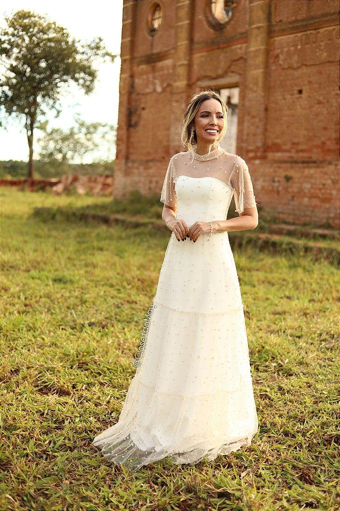 b63974488 Vestido de noiva batizado pre wedding de tule com perola   Closet da ...