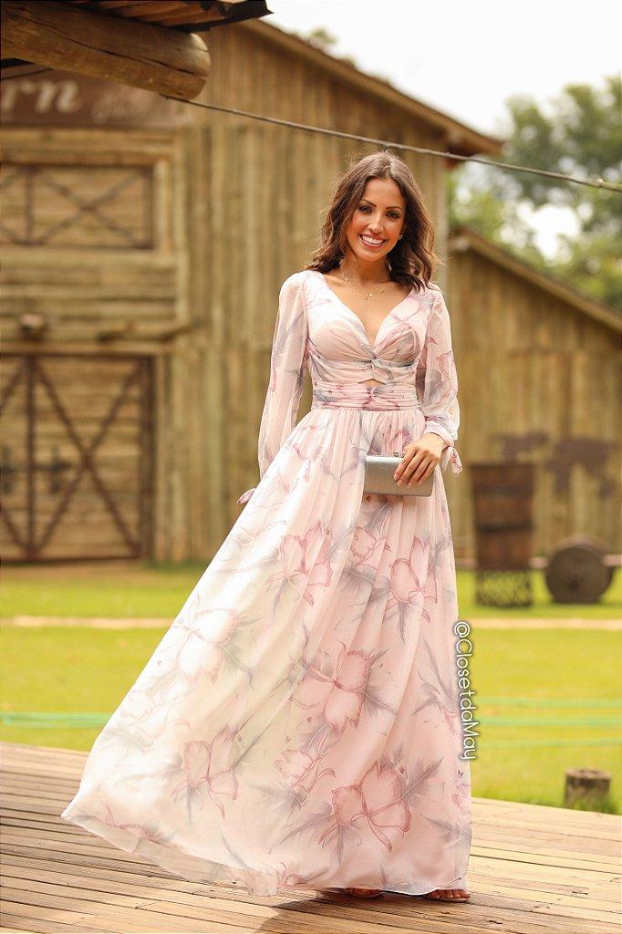 c3a946db3 Vestido de festa longo manga longa estampado, madrinha de casamento,  formatura, ...