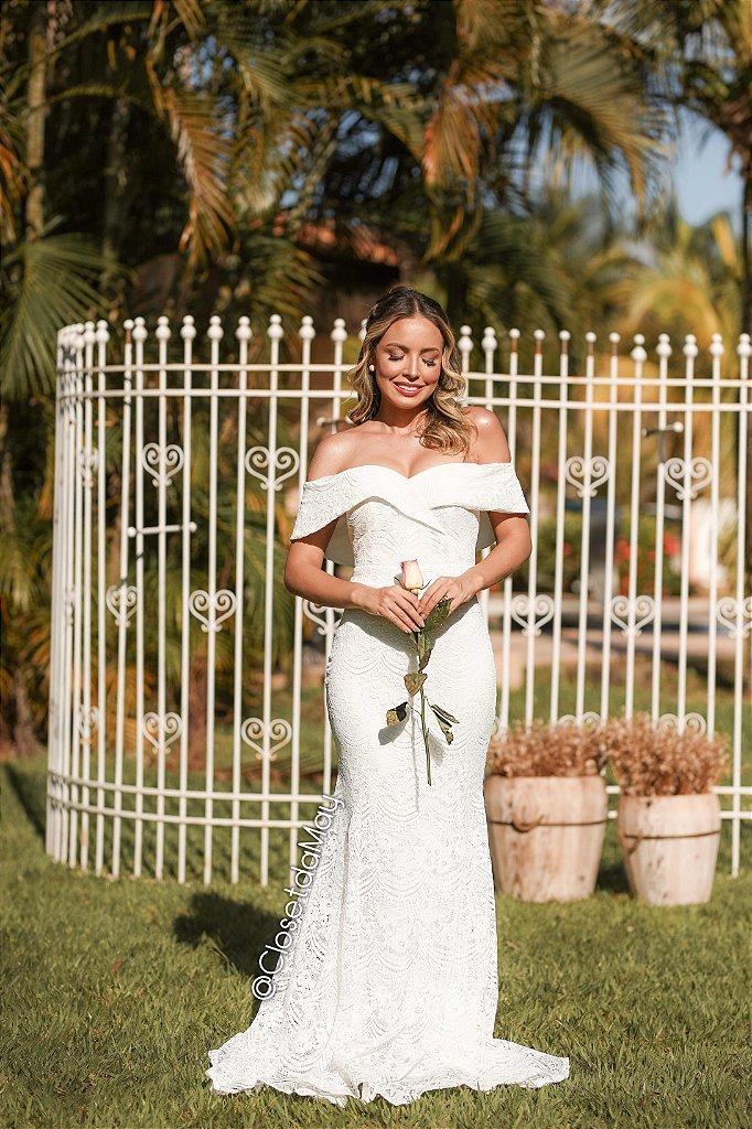 7825f1b3e Vestido de noiva ombro a ombro de renda modelo sereia, casamento civil,  branco, ...