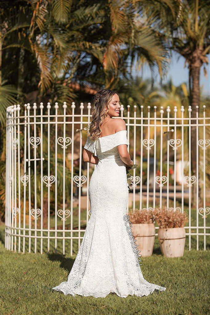 b2408198e ... Vestido de noiva ombro a ombro de renda modelo sereia, casamento civil,  branco, ...
