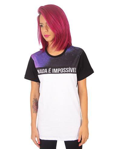 Camiseta Long Feminina Galáxia - Noffing Cloths