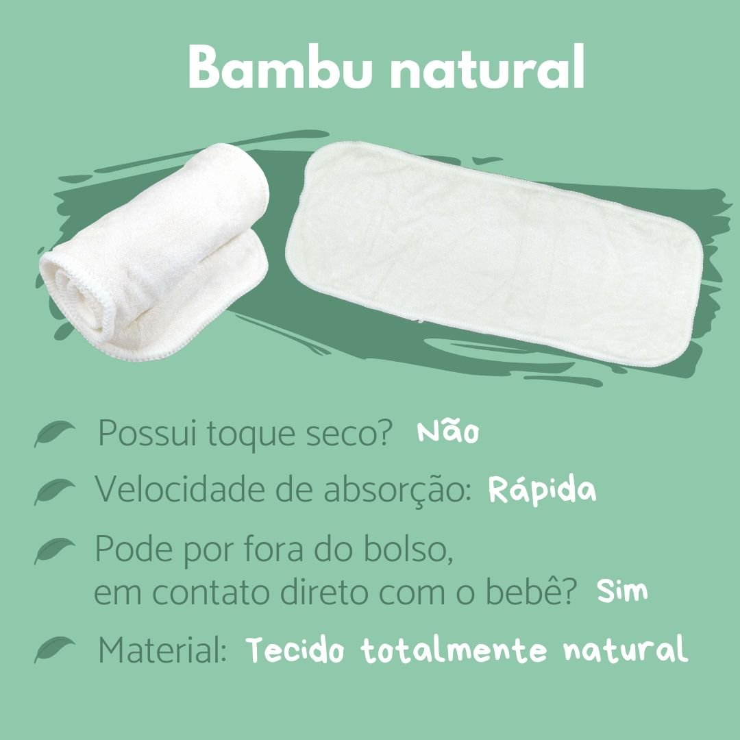 fraldas ecológicas - sobre os absorventes - bambu natural