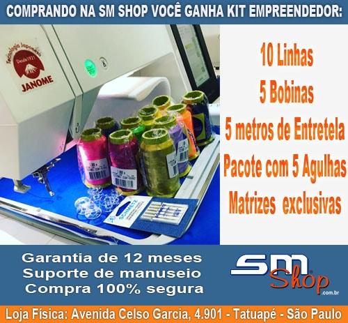 Máquina de Bordado Janome com Kit Empreendedor na Sm Shop