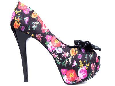 4aa77bee56 Sapato Meia Pata Tecido Floral Colorido e Preto Verniz - Stylus BuyShop