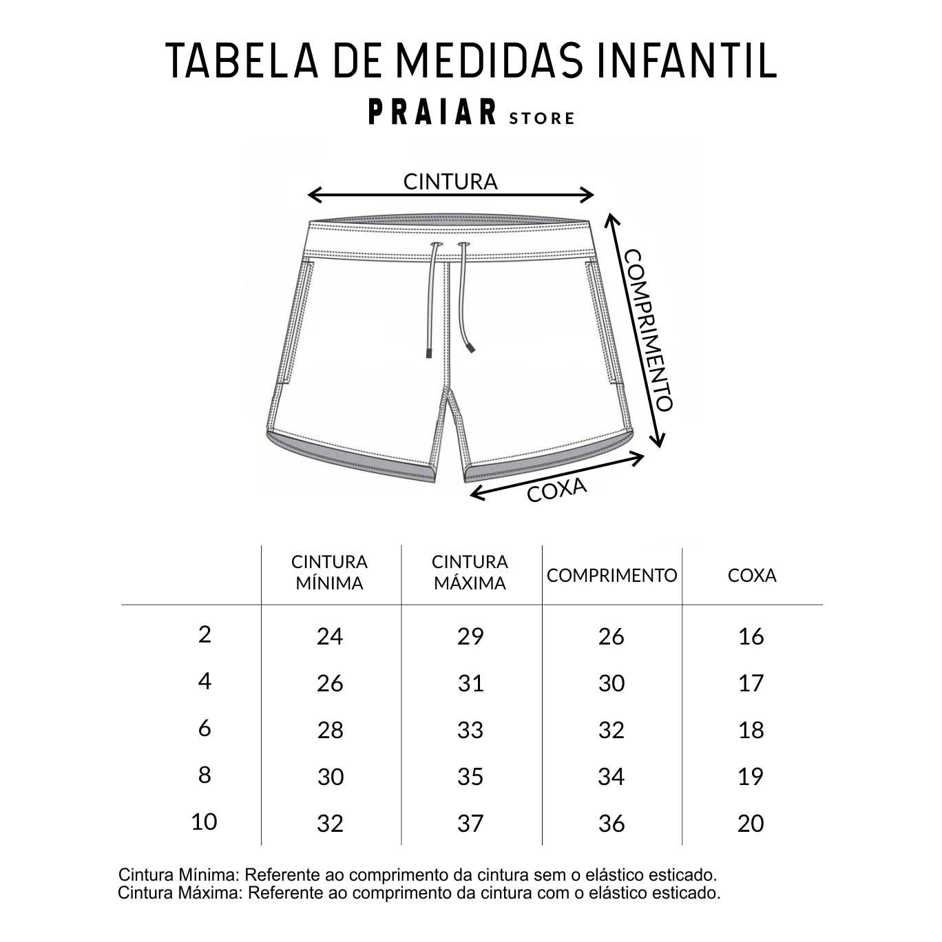 TABELAS DE MEDIDAS INFANTIL - PRAIAR STORE| SHORTS INFANTIS| SHORTS MASCULINO