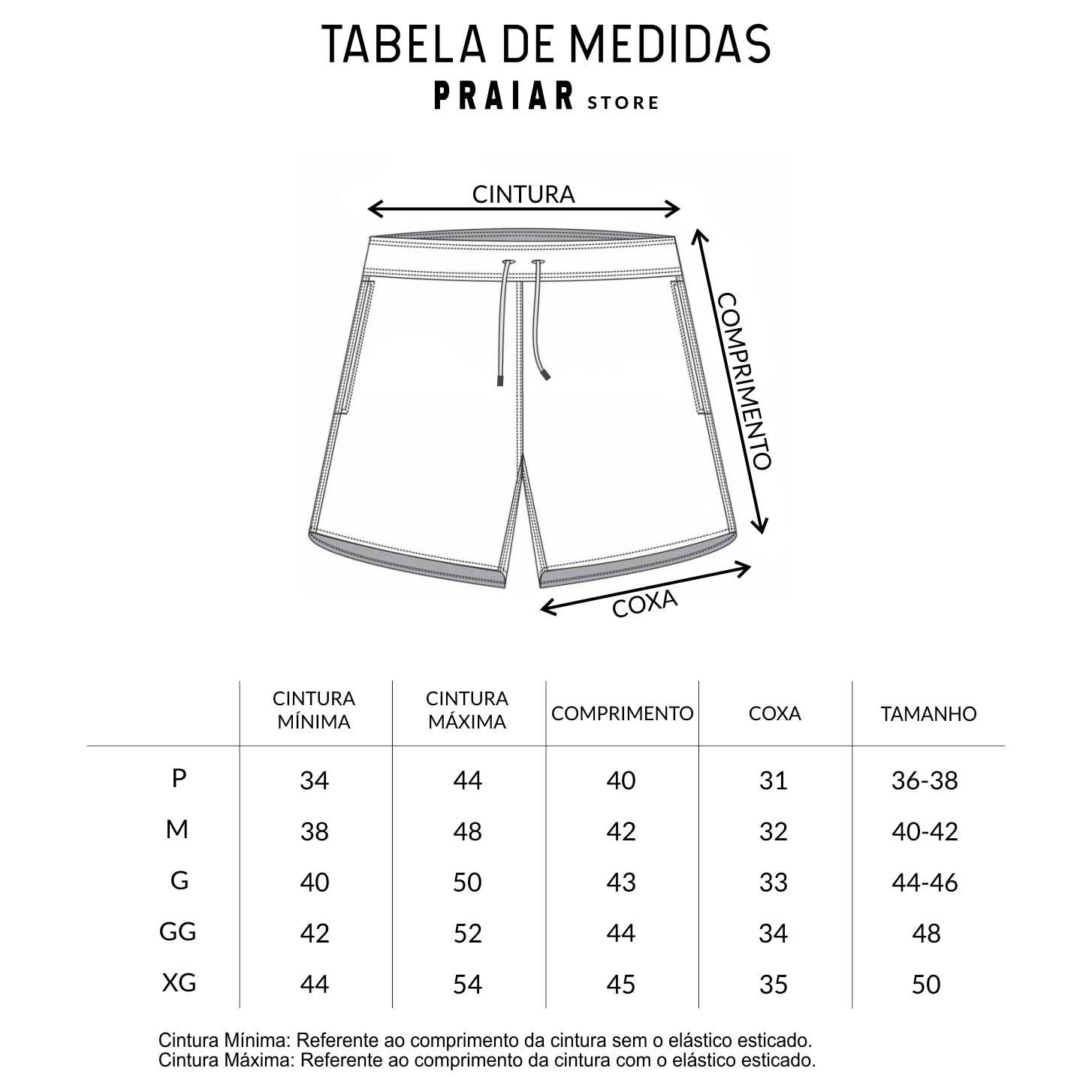TABELA DE MEDIDAS - PRAIAR STORE| SHORTS MASCULINOS