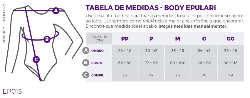 Body Térmico UV+50 Azul Marinho Epulari Tabela de Medidas EP013