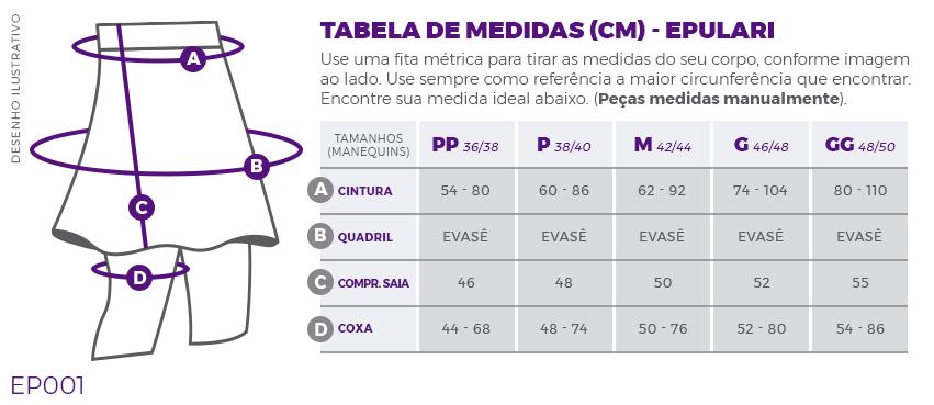 Calça Saia Estampada Fitness Evangélica Epulari Tabela de Medidas EP001