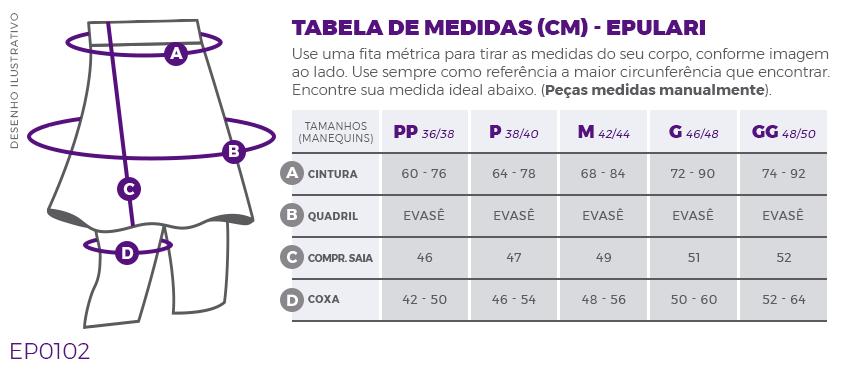 Saia Calça Preta Transpassada Fitness Evangélica Epulari Tabela de Medidas EP0102