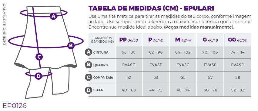Saia Shorts Fitness Evangélica Estampado UV+50 Epulari Tabela de Medidas EP0126
