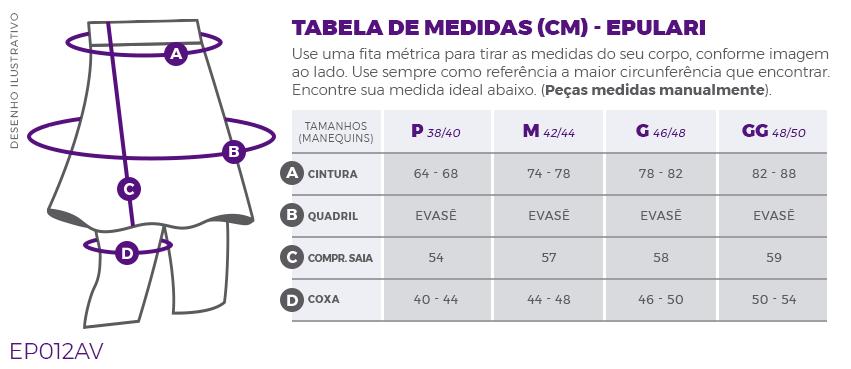 Saia Shorts Fitness Evangélica Azul Epulari Tabela de Medidas EP012AV