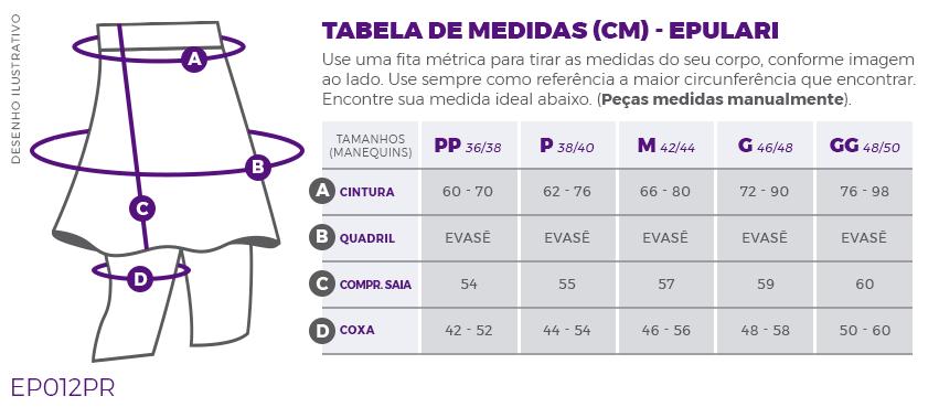 Saia shorts Fitness Evangélica Preta Epulari Tabela de medidas EP012PR