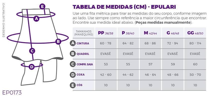 Shorts Saia Preto Poliamida Costura Rosa UV+50 Epulari Tabela de Medidas EP0173