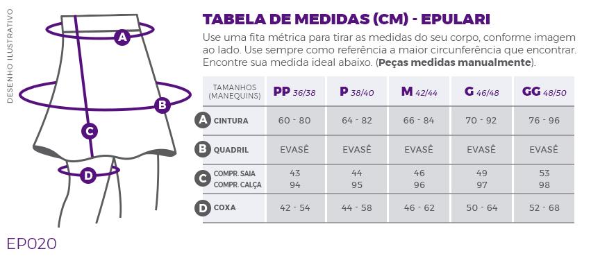 Saia Calça Comprida Preta Transpassada Poliamida Epulari Tabela de Medidas EP020
