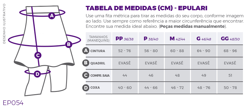 Saia Calça Fitness Evangélica Mescla Com Bolsos Epulari Tabela de Medidas EP054