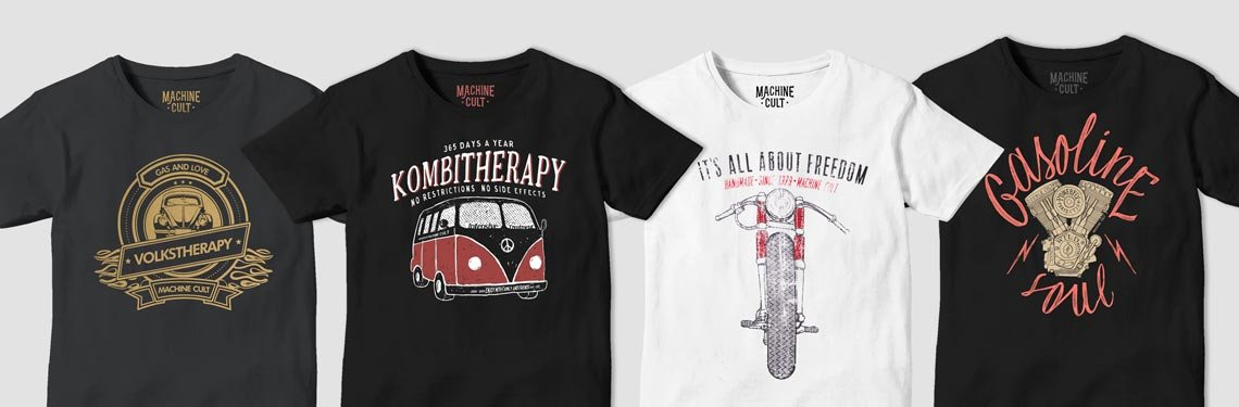Camisetas com estampas de carros e motos