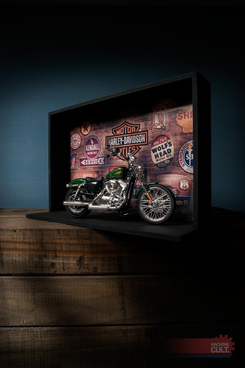 presente Harley-Davidson Miniatura e Expositor