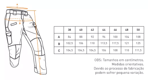 tabela de medida calça Invader INVICTUS
