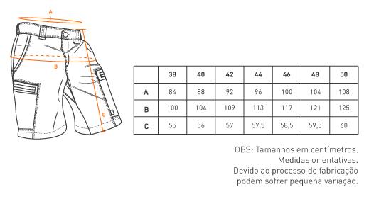 tabela de medida bermuda Pacific INVICTUS