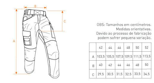 tabela de medida calça Combat INVICTUS