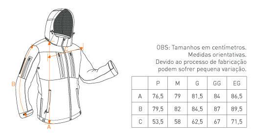 tabela de medida jaqueta Rain INVICTUS