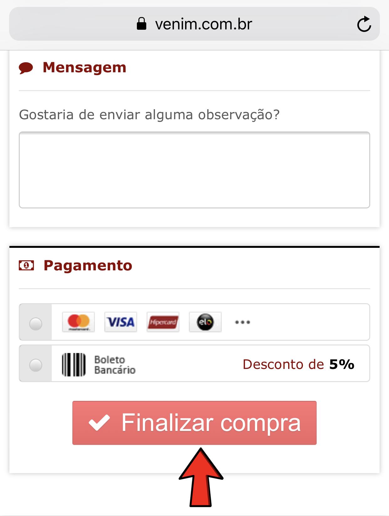 55f50b0c43a1 ... O boleto aparecerá na tela seguinte e também será enviado para seu  email (5% de desconto com essa opção). Após isso é só clicar em FINALIZAR  COMPRA.
