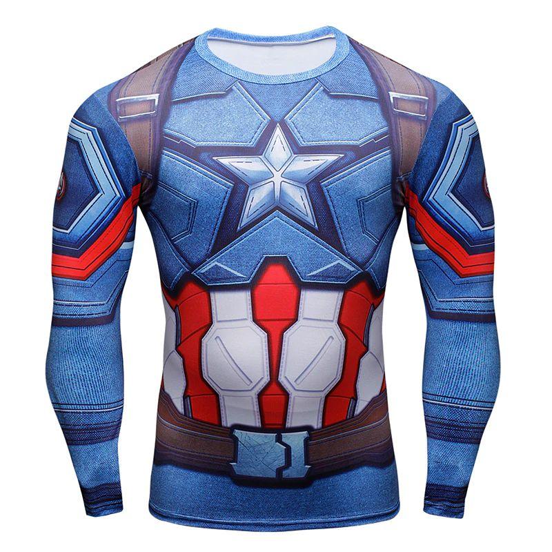 ... Camiseta Capitão América Com Escudo 3D Manga Longa Compressão Fitness -  Imagem 3 ... e338b6a993559