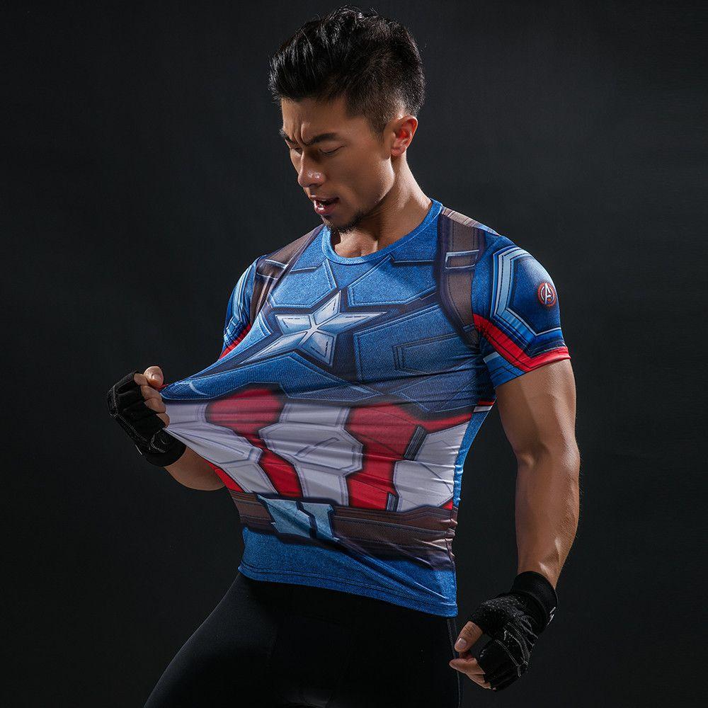 ... Camiseta Capitão América com Escudo 3D Compressão Masculino Top - Manga  Curta - Imagem 5 ... ca48b7290aae5