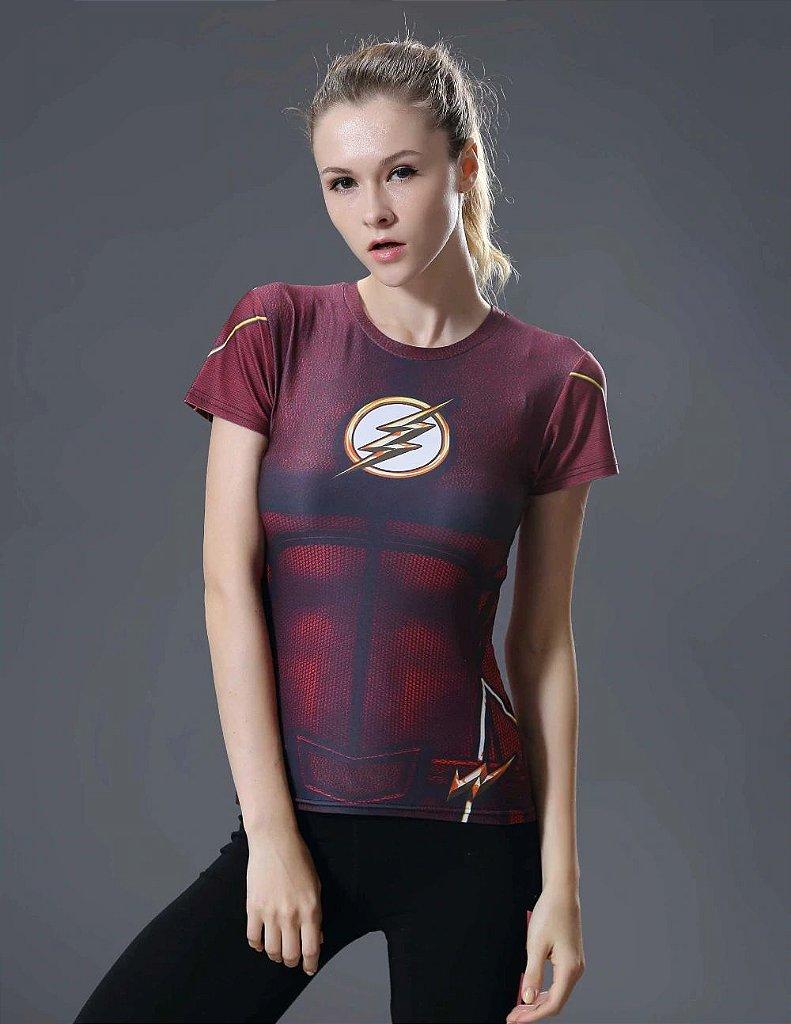63a8d212b3a06 ... Camiseta Flash TOP Respirável Feminina Compressão Fitness Esportes -  Imagem 3 ...