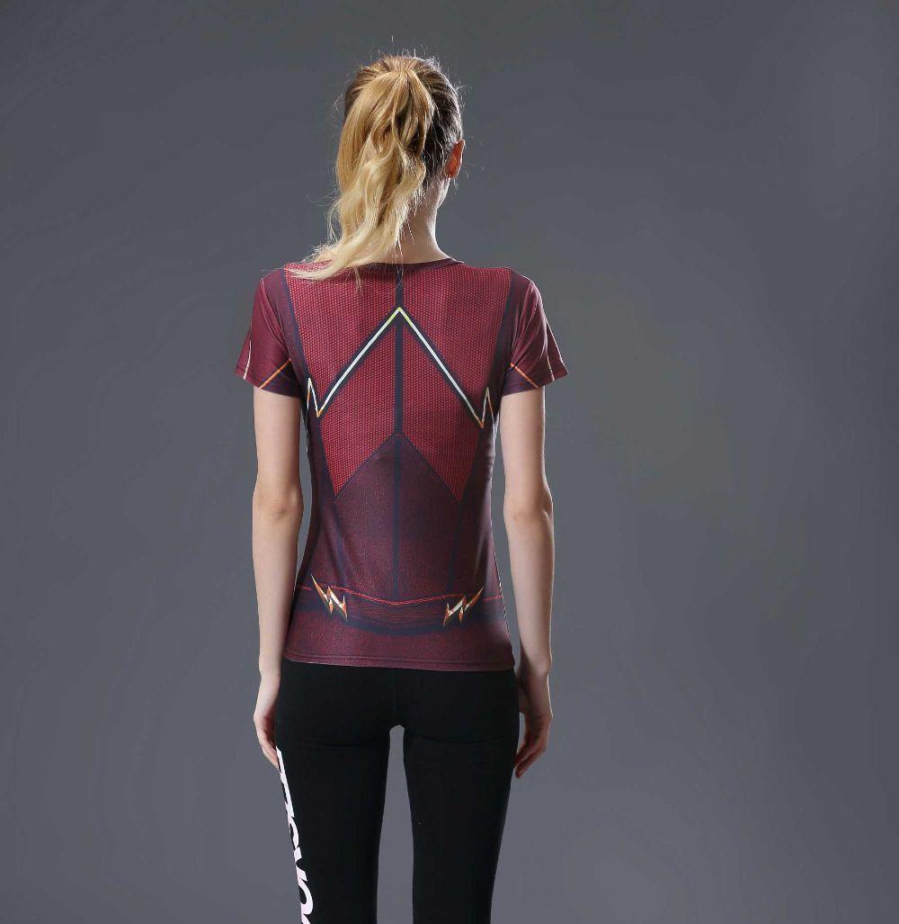 4c257dc41c2fb ... Camiseta Flash TOP Respirável Feminina Compressão Fitness Esportes -  Imagem 2 ...