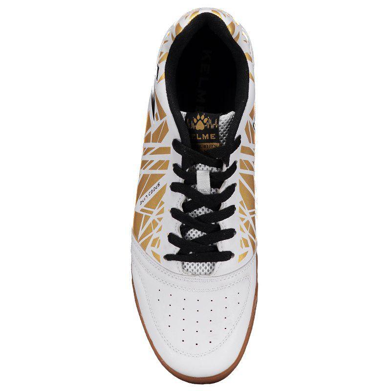 b560fbab2a7 ... Tênis de Futsal Kelme Subito - Branco e dourado - Imagem 3 ...