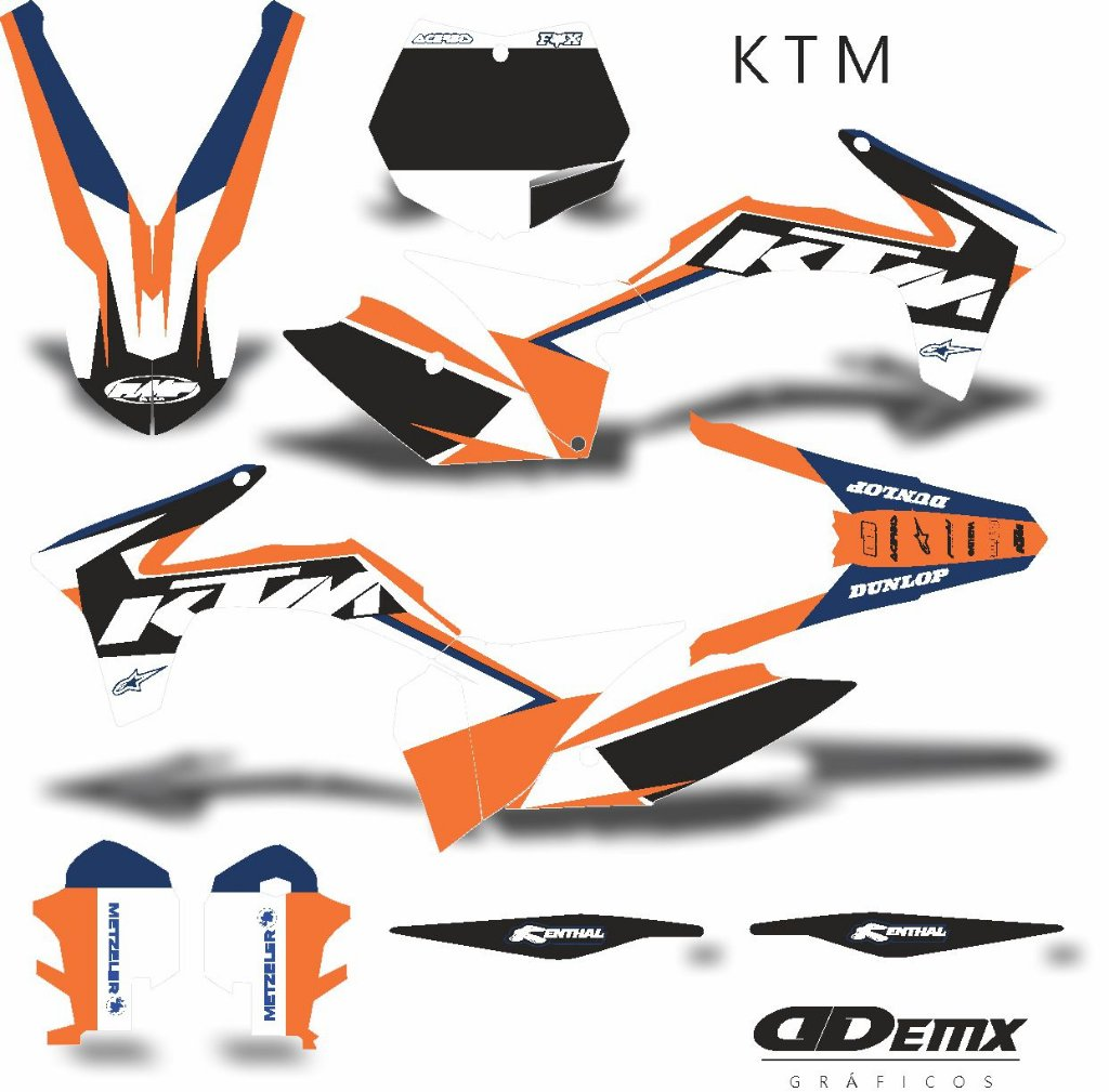 Kit Adesivo 3m Ktm Fluor Cross Demx Motocross Store