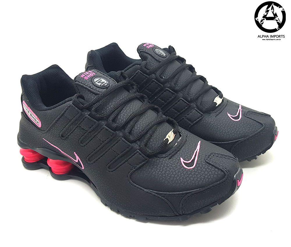 tenis nike shox rosa e preto