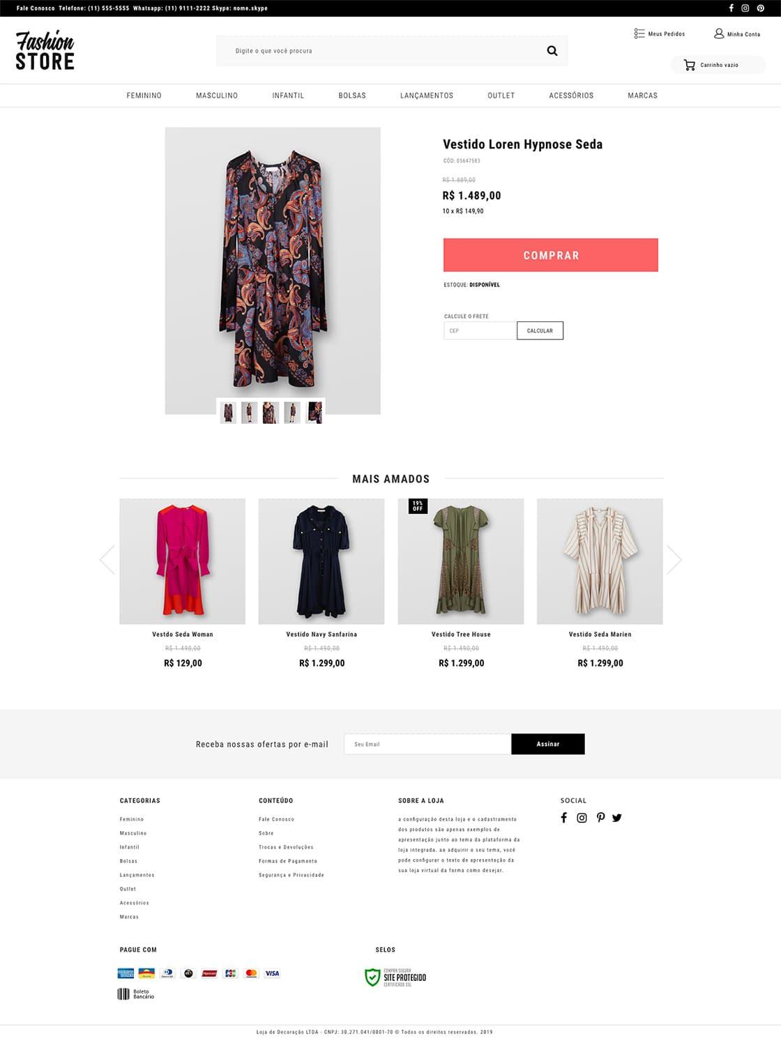Fashion Store Moda Tema Loja Virtual Eshop