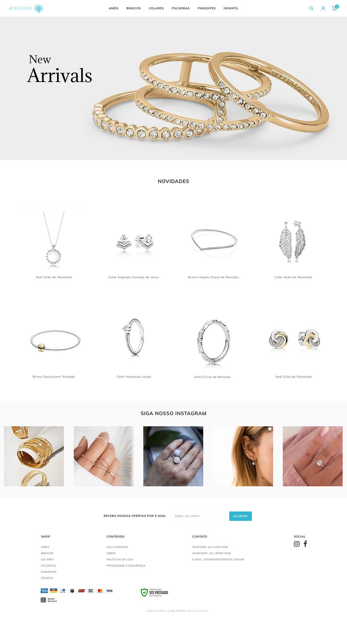 Tema Joias Homepage Loja Virtual Eshop