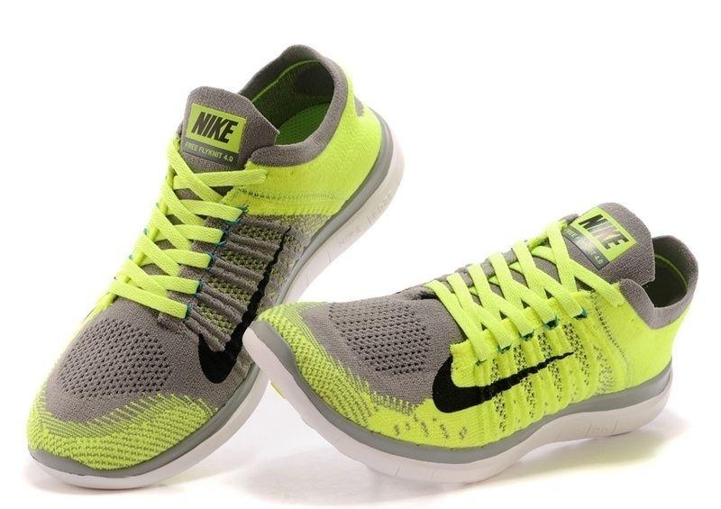 Tênis Nike Free 4.0 Flyknit Masculino Verde e Cinza