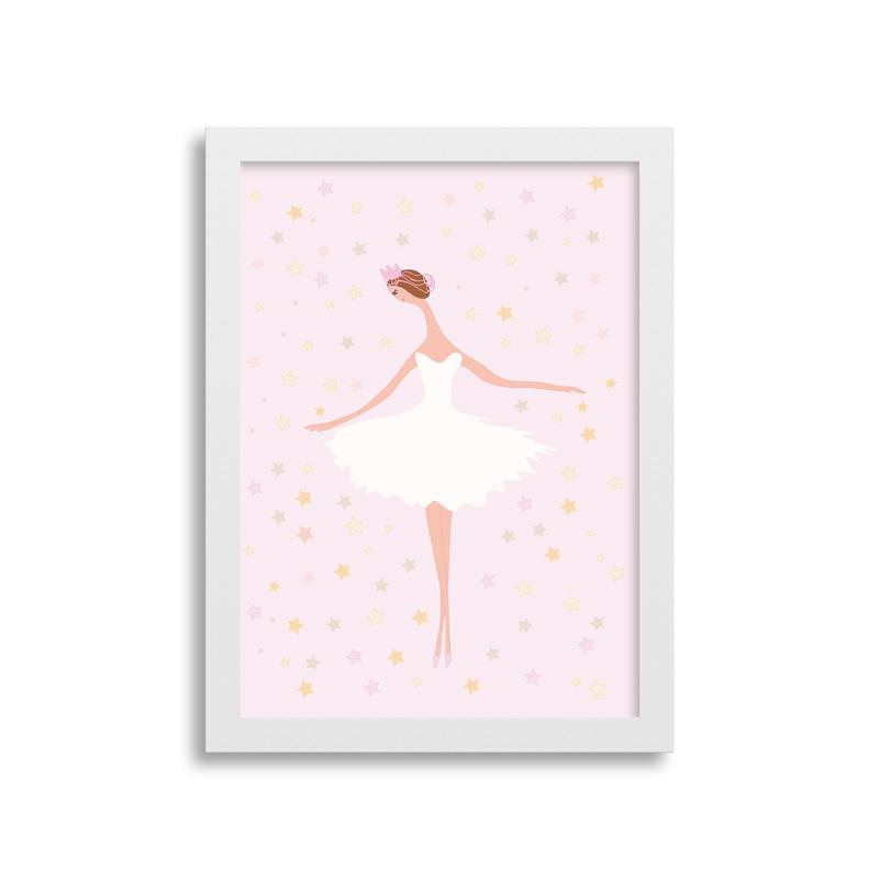 Quadrinho Bailarina Rosa para decoração