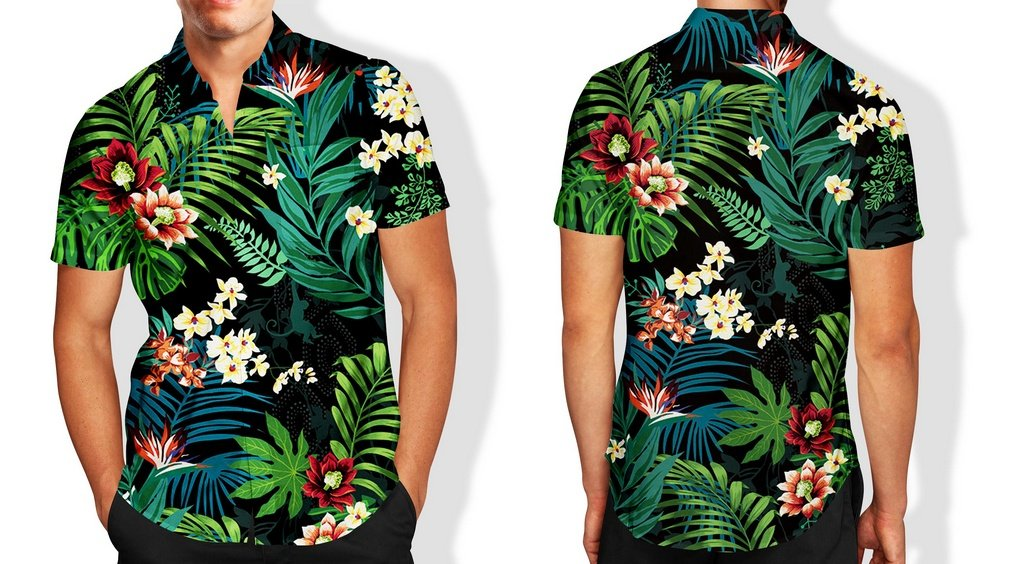 04824f596c ... Camisa Social Lançamento Masculina Full Estampada Folhas - Imagem 3