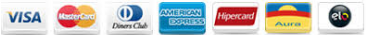 Visa, Diners, American Express, Mastercard, Aura, Hipercard, Elo